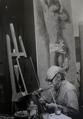 Yannis Tsarouchis studio in Maroussi 1978. Photo Win Tipaldou from the album 'Portraits', published Miletus, 2004