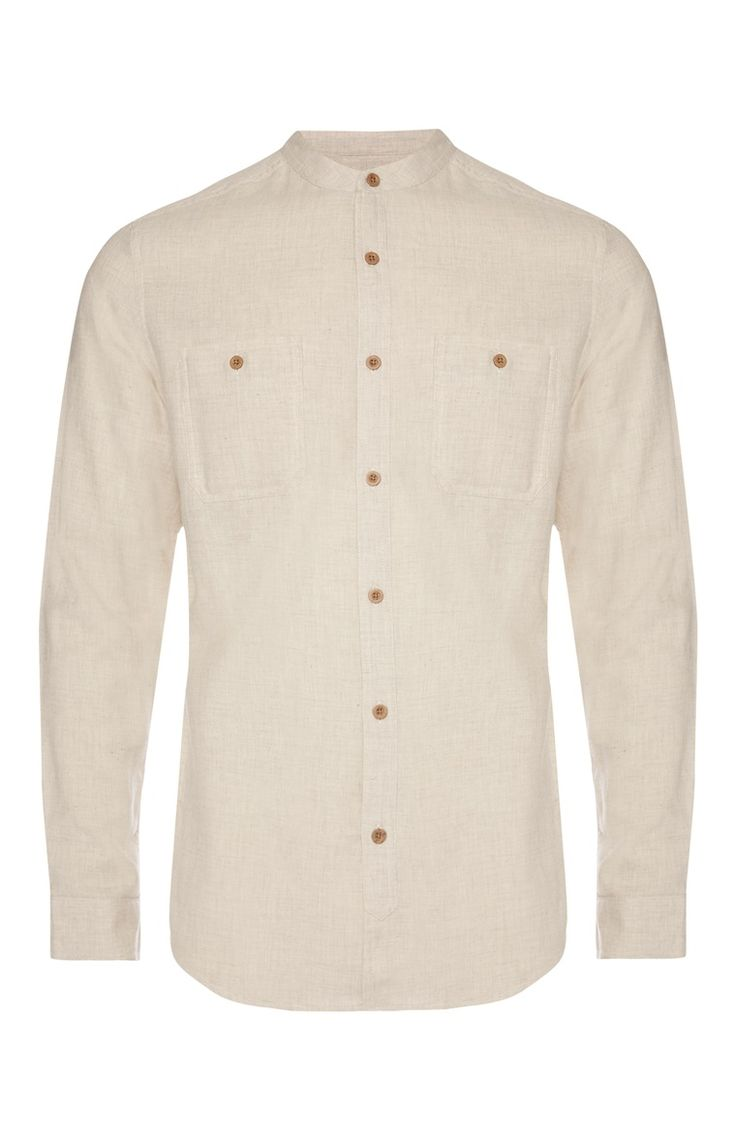 Cream Textured Grandad Shirt