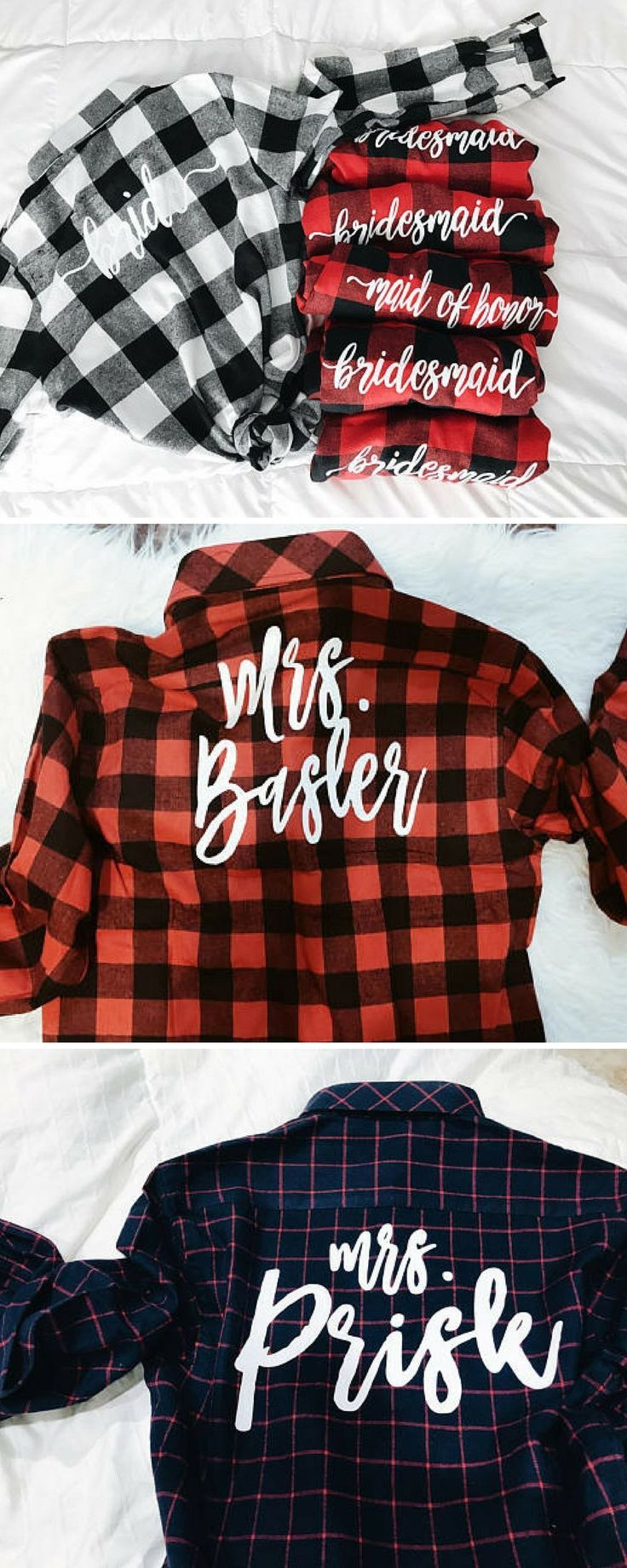 Mrs. Flannel |Bride Flannel | Bridesmaid Flannels | Maid of Honor Flannel #Affiliate #weddings #gifts #bridesmaids