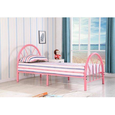 roundhill belledica twin size metal bed frame multiple colors available pink