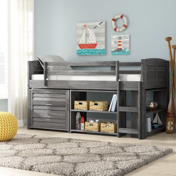 Evan Modern Twin Bed With Drawers And Bookcase Low Loft Beds For