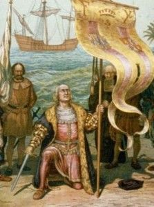 Este cuadro es de Cristobal Colon, y se muestra el primer encuentro con America