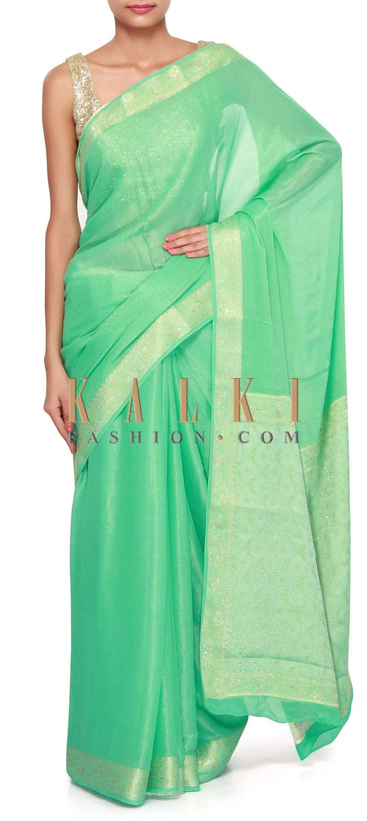 Buy Online from the link below. We ship worldwide (Free Shipping over US$100). Product SKU - 305410.Product Link - http://www.kalkifashion.com/sea-green-saree-enhanced-in-weave-embroidery-only-on-kalki.html