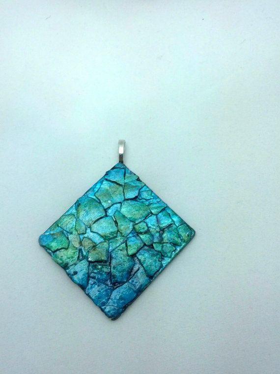 Eggshell Mosaic  Pendant Necklace in Shades of blue HartonArt in Columbia, South Carolina