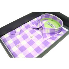 Рубашка Louis Fabel приталенная цвет сиреневый в клетку