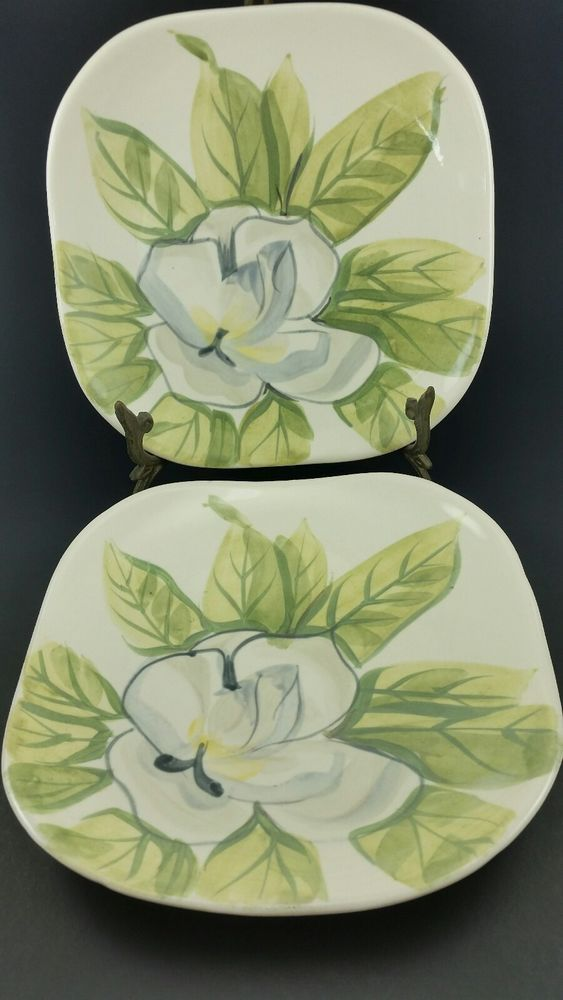 2 Red Wing Hand Painted Chartreuse Magnolia 7 1 4 Small Plates Vintage Redwing