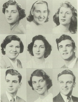 """1950 hair in the """"Gristmill"""" yearbook of Shaker Heights high school in Shaker Heights, Ohio."""