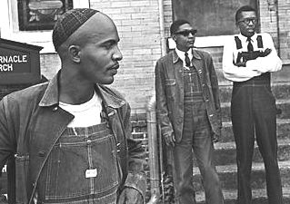 SCLC organizers Rev. James Bevel, Rev. Richard Boone, and Rev. Harold Middlebrook outside of Tabernacle Baptist Church in Selma.