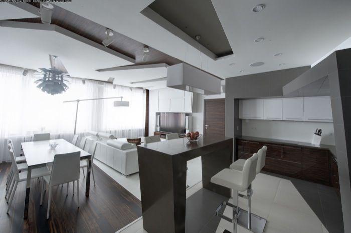 Renovación de apartamento en Moscú. Reforma de apartamento en Moscú con una decoración minimalista que juega con el contraste de texturas, incluso en suelos y techos. Yeso, azulejos, y madera.      #Arquitectura, #Decoracion