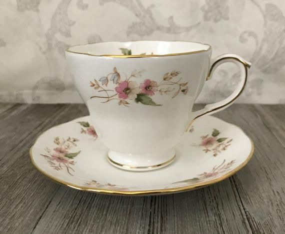 7fd774ef7ea Footed Tea Cup and Saucer Set, Duchess Bone China, Glen 316, Pink Roses,  Made in England