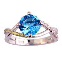 Nueva moda exquisita mujeres joyería de la boda corte redondo de topacio azul 925 anillo de plata tamaño 6 7 8 9 10 envío gratis
