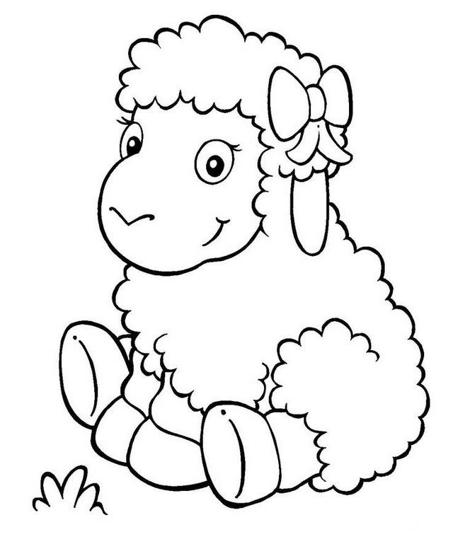 Cute Cartoon Lamb Coloring Picture For Kids Animal Coloring Pages Cute Coloring Pages Coloring Pictures For Kids
