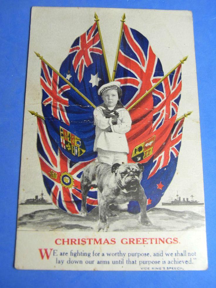 WW1 Patriotic Postcard 1914 1918 BULLDOG INDIA CANADA