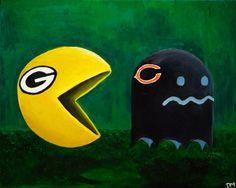 Green Bay Packers Vs Chicago Bears Art Print. Welcome to Heaven - http://touchdownheaven.com/category/categories/green-bay-packers-fan-shop/