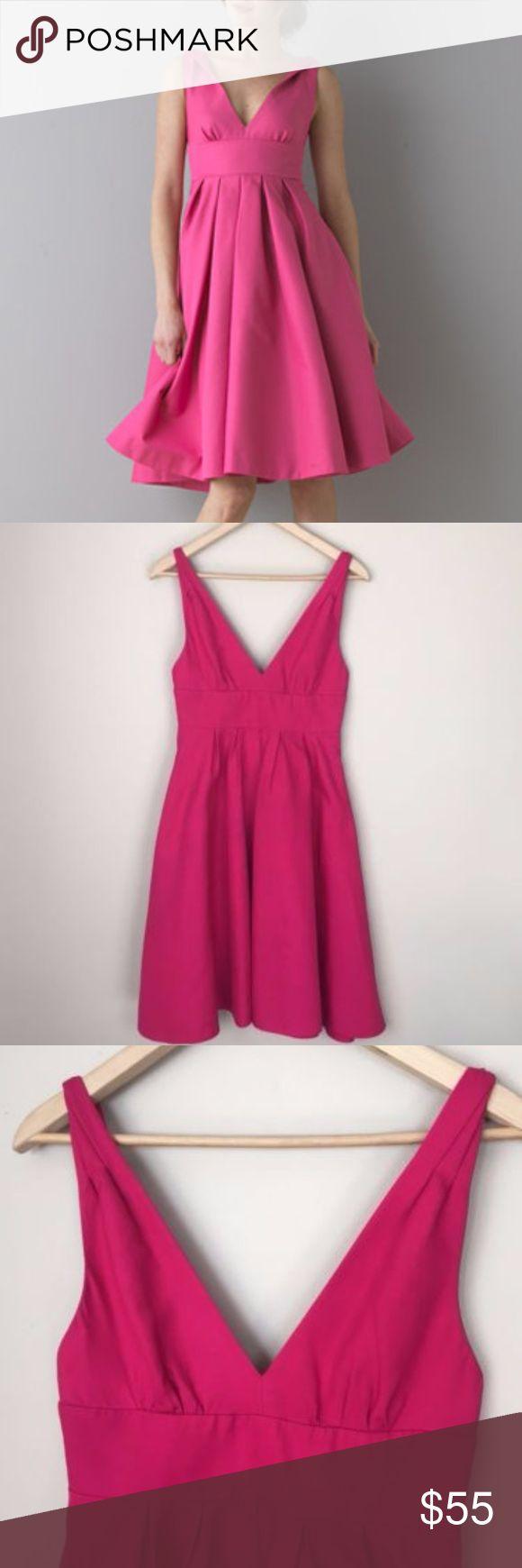 "J.Crew pink empire waist a line Janey dress Women's J.Crew pink empire waist a line Janey dress size 2 #86683 ($275) So pretty! A dark pink, almost magenta colored dress. V neck. Empire waist. A line. Lined. Zipper in back.  Bust: 15"" across Waist: 13.5"" across Length: 38"" J. Crew Dresses Midi"