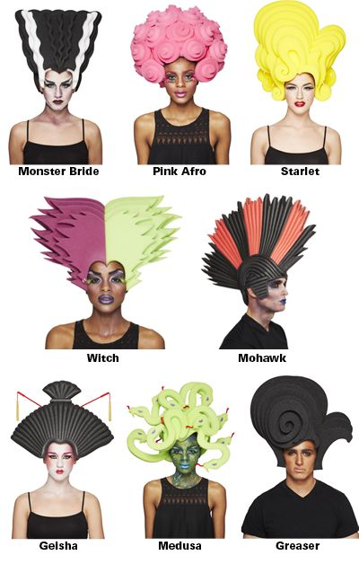 Target Teams with Designer Chris March for 'Big Fun' Halloween Wig Collection | Divine Caroline. I want the Bride of Frankenstein! and the pink one