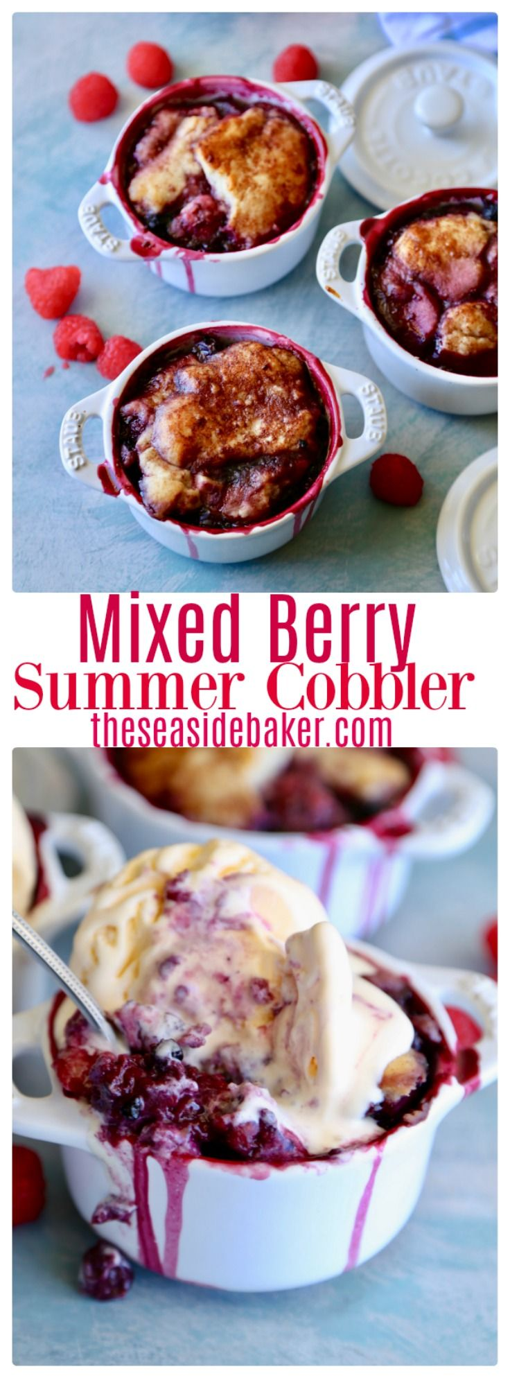 Blueberry, blackberry, and raspberry summer cobbler topped with buttery delicious cakey topping sprinkled with cinnamon and sugar