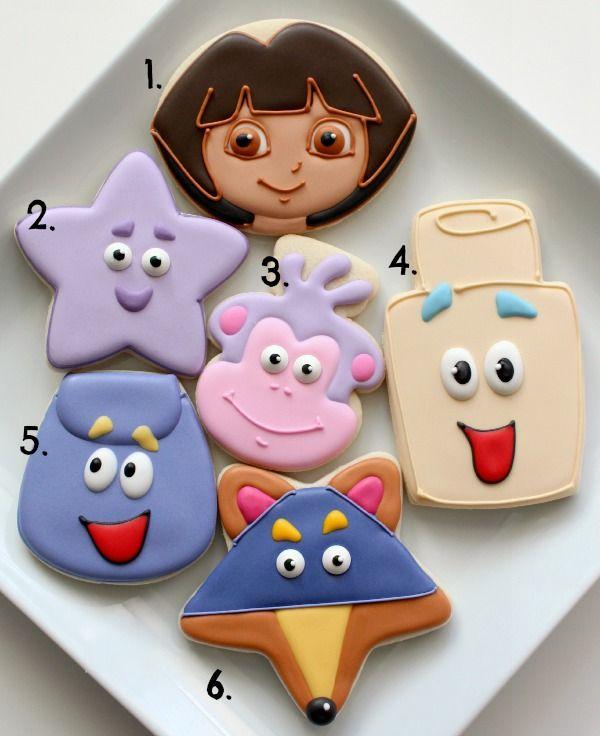 Dora Cookies with Simple Cutters via @SweetSugarBelle {Callye Alvarado}