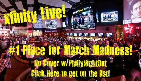 Best Place to watch March Madness (& Any Sporting Event!) 1st ever NBC Sports Arena offers fans the closest thing to watching the game live, with a 32-foot, million-dollar Sony LED HDTV, NBC Sports ticker displaying the latest stats & scores; a full service bar & menu. #philly #philadelphia #phillynightout #xfinity #sports #bullrides #spectrum #phillies #flyers #eagles #sixers #marchmadness #xfinitylive