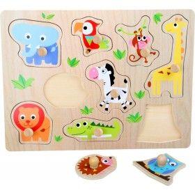 """Puzzle s Puzzle s úchytkami z lisovanej preglejky sú drevené hračky určené pre deti od cca 1 roka a podporuje jeho zručnosti ako je jemná motorika, manuálnu zručnosť, logické myslenie a cit pre tvar predmetu.""""zvieratká"""""""