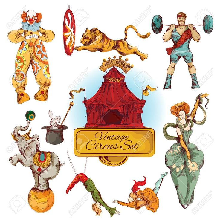 Circo Decorativa Fata Magica Bacchetta E Design Pagliaccio Trucco Icone D'epoca Insieme Doodle Schizzo Di Colore Illustrazione Vettoriale Clipart Royalty-free, Vettori E Illustrator Stock. Image 29453373.