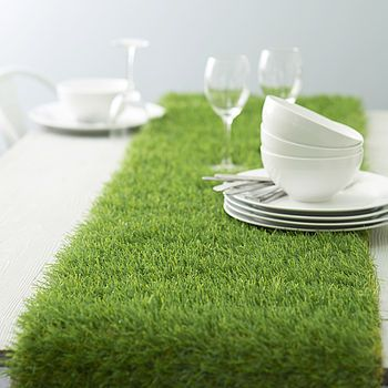 A grass table runner. This is exactly the kind of silliness that appeals to me...