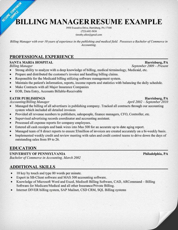 medical billing manager resume sample - http://resumesdesign.com/medical-billing-manager-resume-sample/