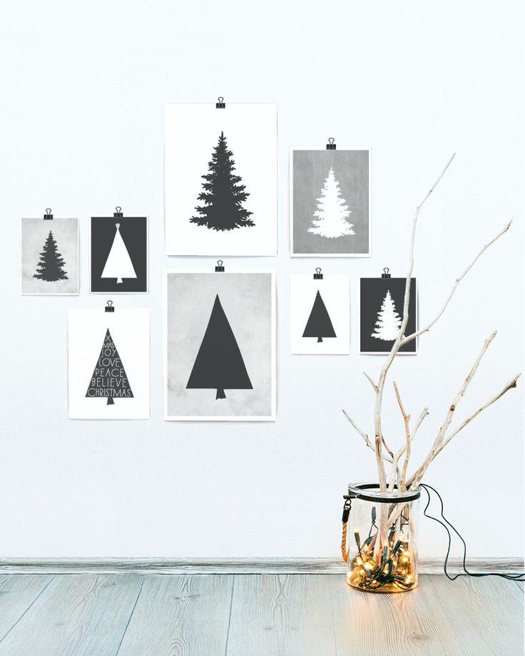 zwart-wit kerst posters - kerstbomen en dennebomen