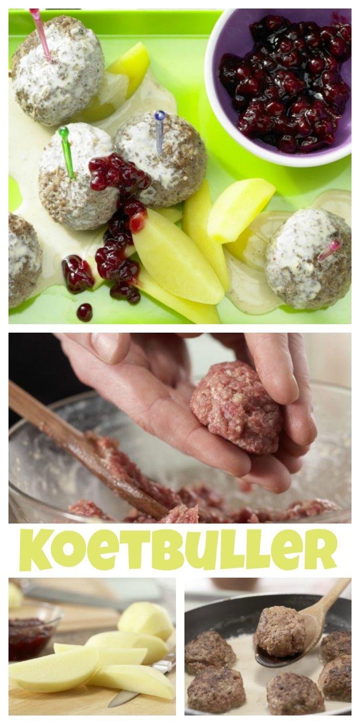 Die Köttbullar werden mit Salzkartoffeln und Preiselbeeren angerichtet: Karlssons Köttbullar Familienessen (2 Erw. und 2 Kinder) | http://eatsmarter.de/rezepte/koettbullar