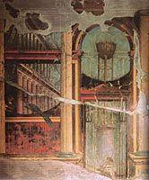 Arkkitehtuurifantasia, seinämaalaus, Pompeiji, antiikin Rooma