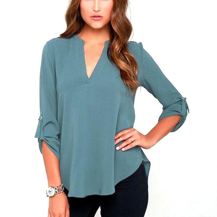 100% A Estrenar Blusas Femininas Mujeres V Cuello Sólido de La Gasa de La Blusa Tops Moda OL Camisa de Manga Larga Blusas 4 Colores