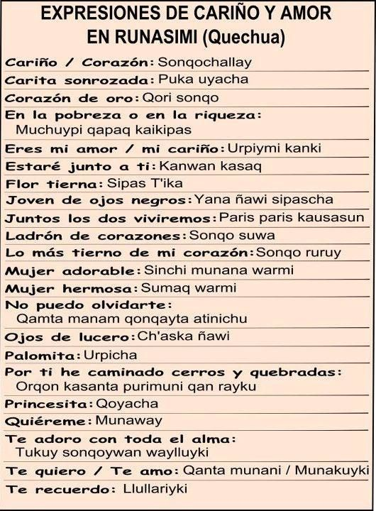 Quechua Language Words 15 best APRENDIENDO QU...