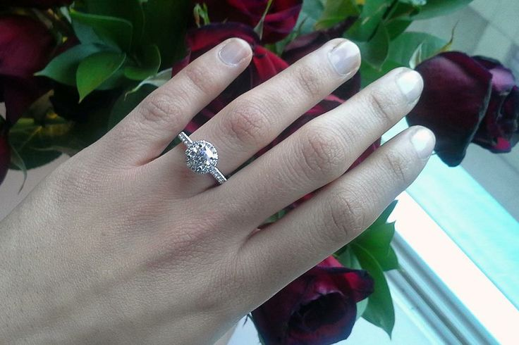 Loving this customer photo!! Thanks, fan, for letting us gush over your beautiful 1.01 carat ring. Set in an 18k white gold setting, the halo really makes it shine. Congratulations!