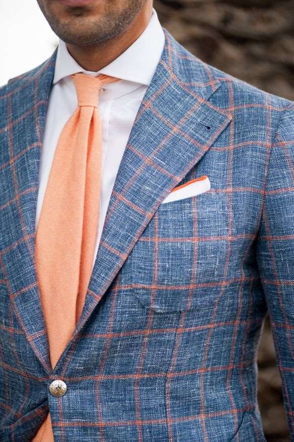 Men 39 S Blue Check Wool Blazer White Dress Shirt Orange