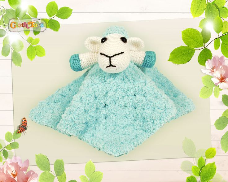 Crocheted SHEEP Security Blanket, Blue Lovey, Ready to Post, Cute Cuddly Soft Plushie,  Toy Sheep,  Comforter,  Baby Shower Gift. by ClothToyCreations on Etsy
