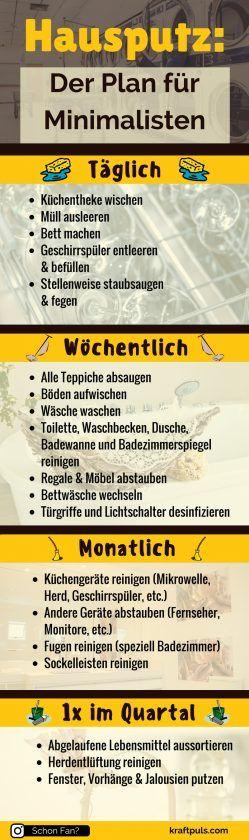 Hausputz: Der Plan für Minimalisten #Infografik #deutsch #putzen #tipps