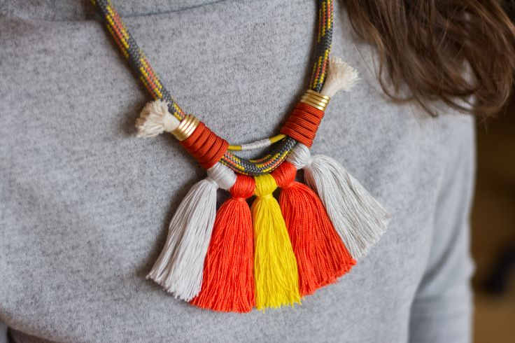 Climbing rope necklace | #deuxsoray #ds #necklace #rope #ropenecklace #climbing #climbingrope #tassel #tasselnecklace #colorful #orange #handmade #jewelry #etsy #seller #sisters #two #bewhoyouare