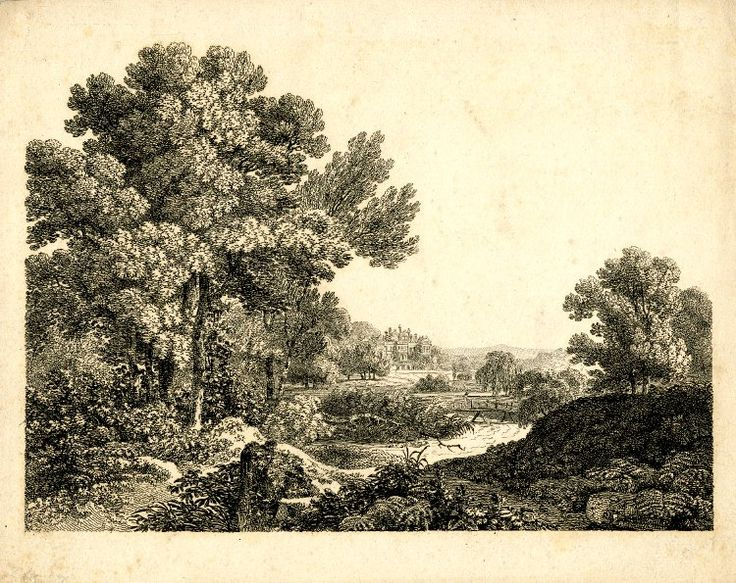 Landscape with a winding river in the middle distance, a figure walking over a footbridge; a country house with shaped gables and a perron in the background; trees in the left foreground, one tree fallen and lying in the river; after Hearne; plate 1 of an unidentified series of country houses; working proof before letters. Etching