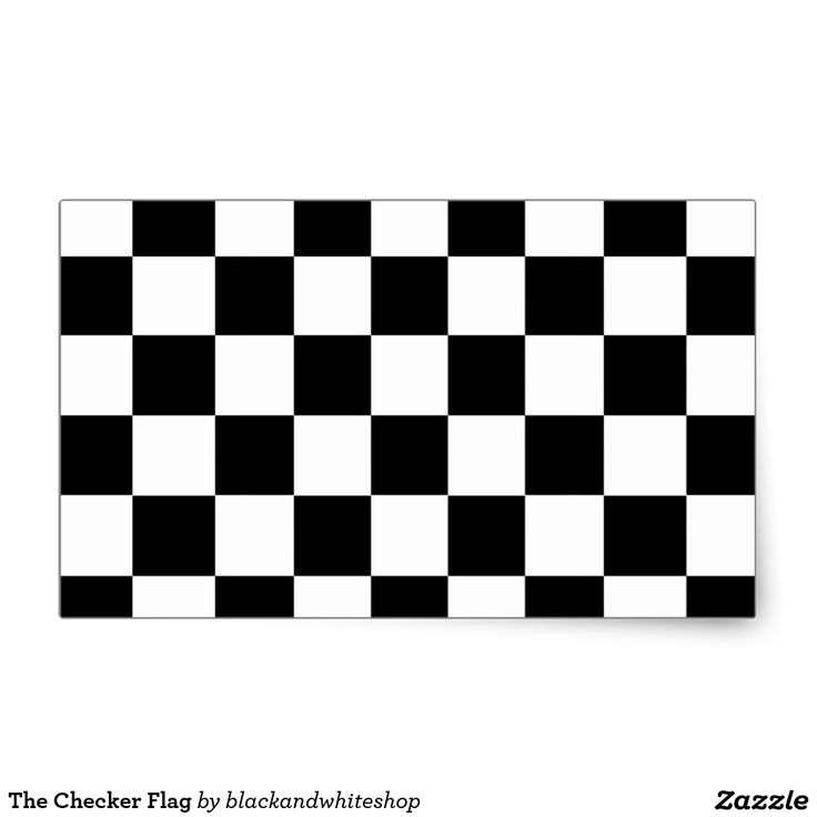 The Checker Flag Rectangular Sticker Zazzle Com Black
