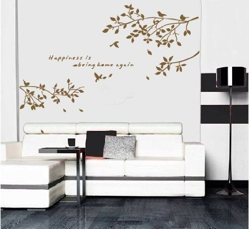 New Design Brown Tree Vine Happiness Is Being Home Again Quotes Lettering Wall Decal Sticker