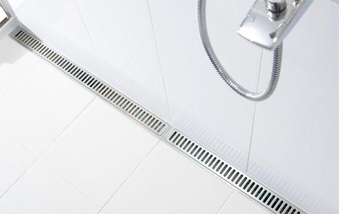 Bathroom with a costumised modular line drain system. unidrain®: Modul 1100 #module1100 #bathroom #badeværelse #design #minimalistic #nordicdesign #design #inspirational #interior