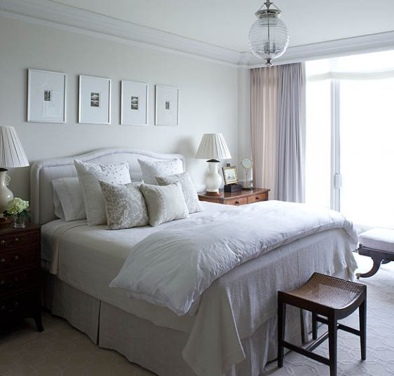love this whole look: Ideas, Headboards, Bedrooms Design, White Beds, Phoebe Howard, White Bedrooms, Master Bedrooms, Tranquil Bedrooms, Pendants Lights