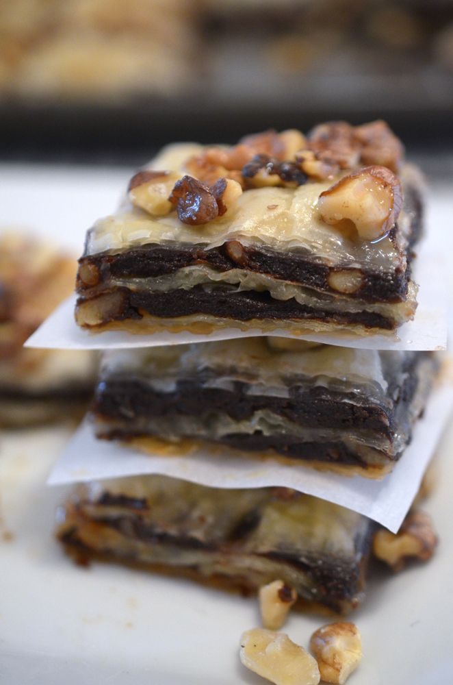 Brownie Baklava- ¾ cup butter, 4 oz unsweetened chocolate squares, 2 cups sugar, 4 eggs, 1tsp vanilla, 1 cup all-purpose flour, 2 tsp cinnamon, 2 cups chopped walnuts, (16 oz) thawed phyllo dough,1 cup (2 sticks) unsalted butter, 1 1/2 cups honey+: