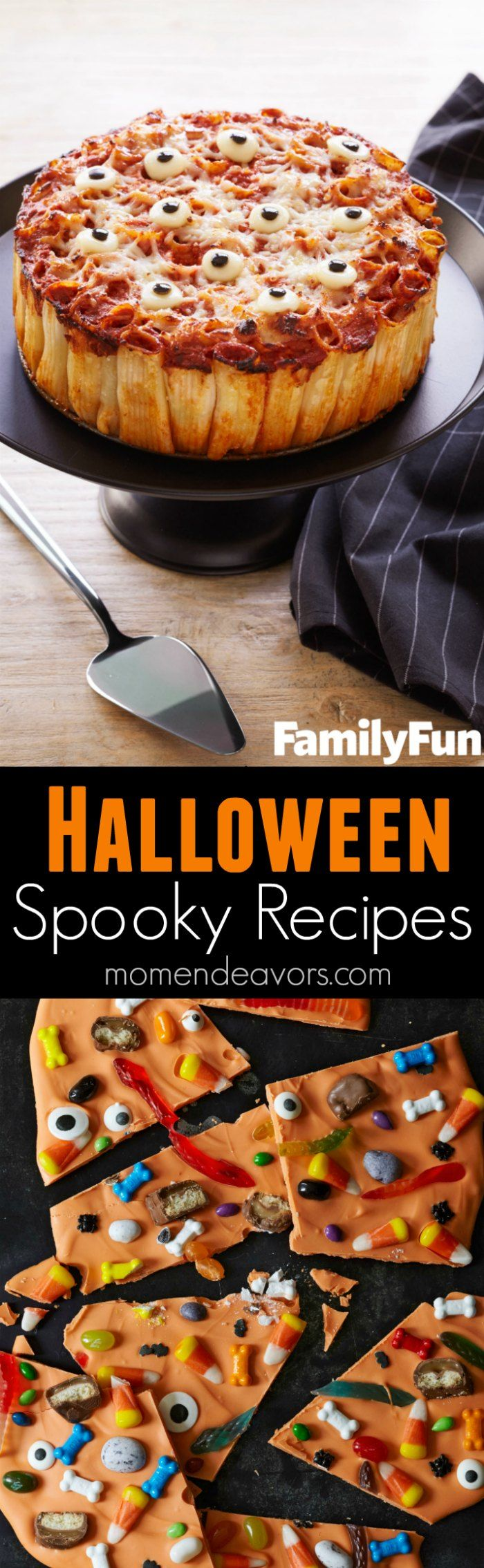 Spooky Halloween Recipes - Halloween punch, Halloween pasta, and Halloween bark - all perfect for a Halloween dinner or Halloween party!