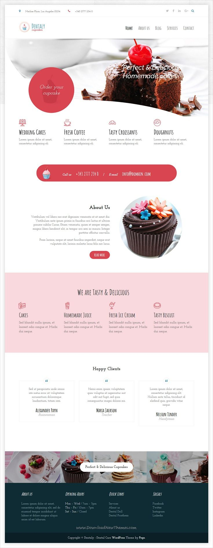 Dentaly is clean and modern design 3in1 responsive #WordPress theme for dental care, tasty #cupcakes, manicure and pedicure website download now #webdesign