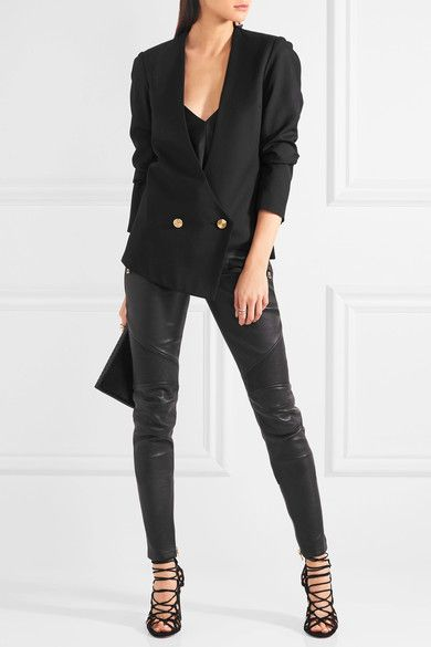 Black leather Button and concealed hook and zip fastening at front 100% leather (Lamb); lining: 60% cotton, 35% polyester, 5% elastane Specialist clean Made in France