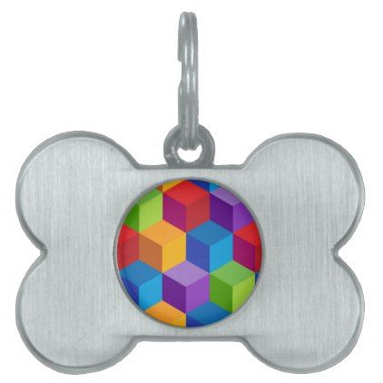 Rainbow Colorful Block Cube Pattern Pet Name Tag - patterns pattern special unique design gift idea diy