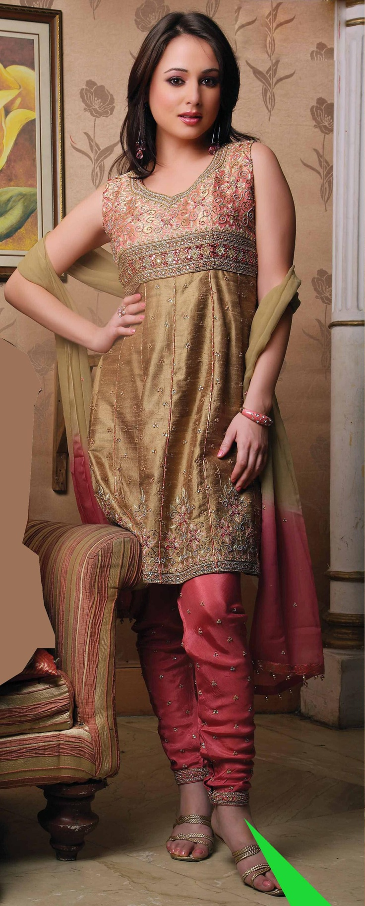 Brown Sleeveless Art Silk Salwar Kameez/Suit - like this style but ...
