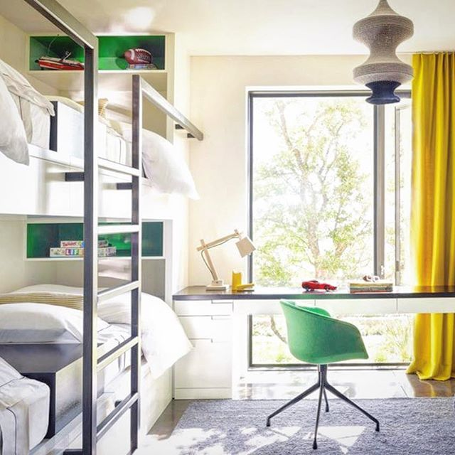 A very cool bunk room designed by Sara Story as seen in @architecturaldigest @sarastorydesign