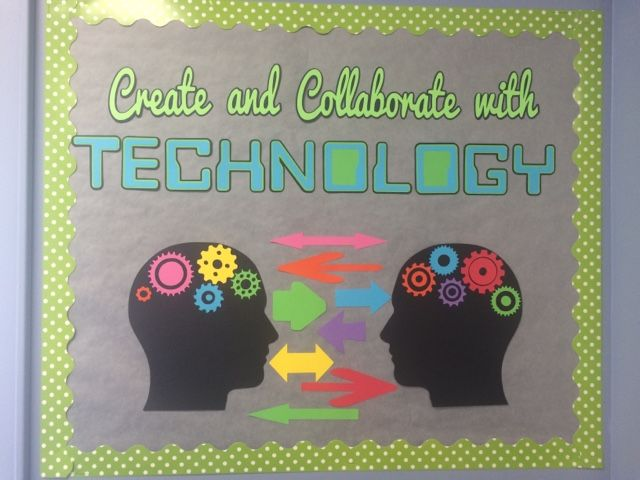 A Techy Teacher with a Cricut: Computer Lab Bulletin Board: create and collaborate